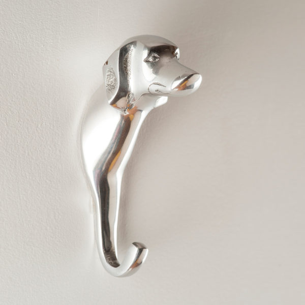 Silver dog wall hook online