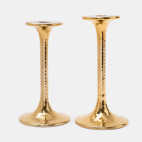 Metal gold candle holders set of two