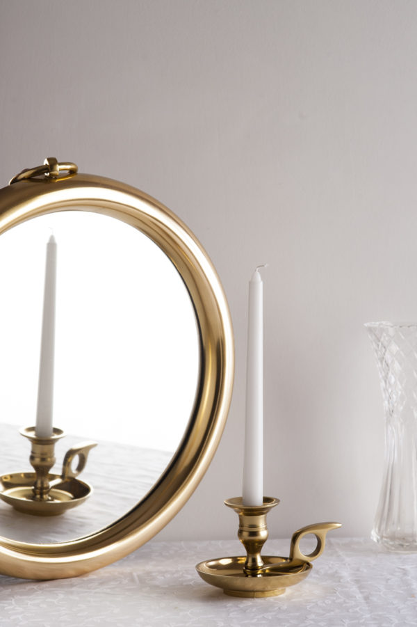 Small Gold Round Mirror