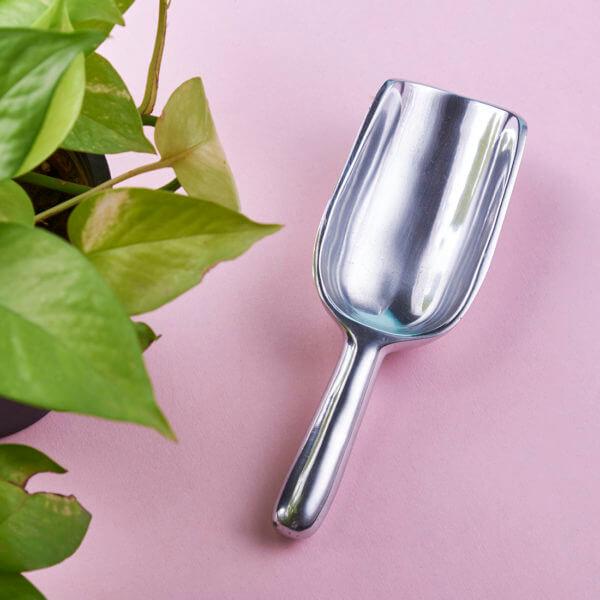 Silver garden shovel