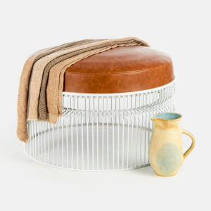 Leather ottoman Toppbrass