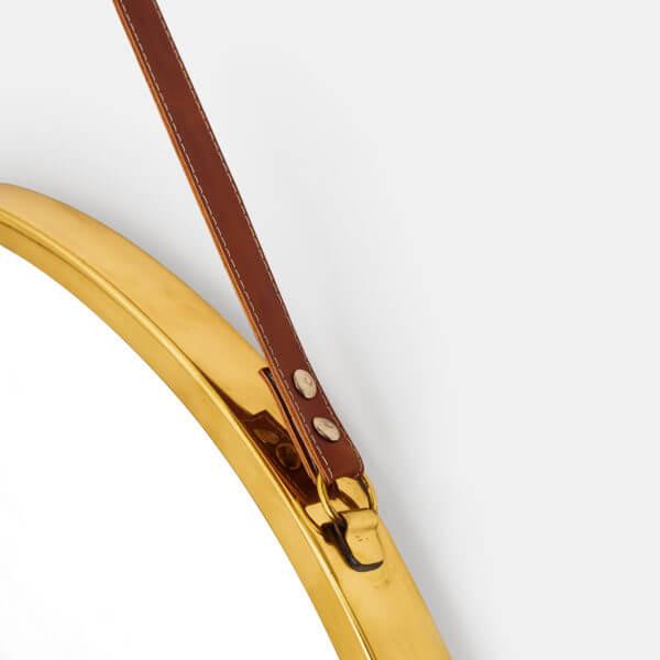 Round Mirror Leather strap