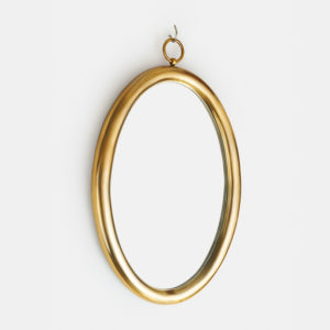round gold mirror bathroom
