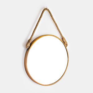 large round mirror with rope