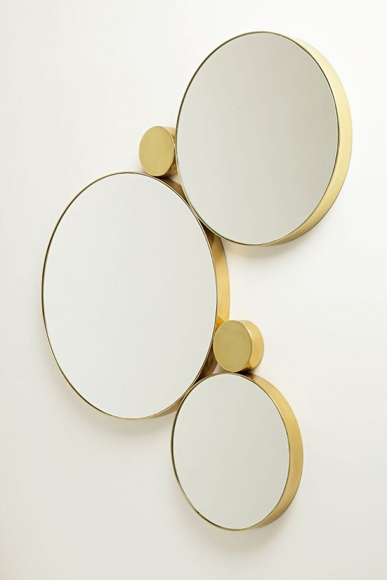 round gold mirror set
