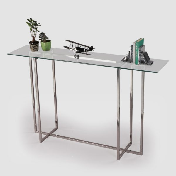 Silver console table for living room
