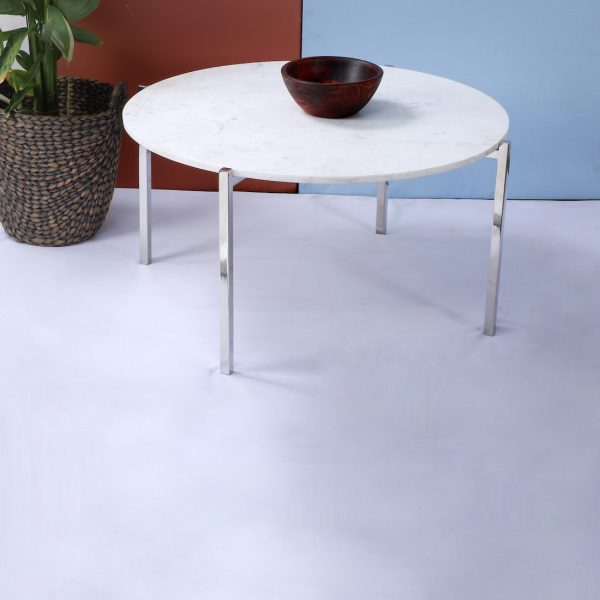 Metal and marble coffee table