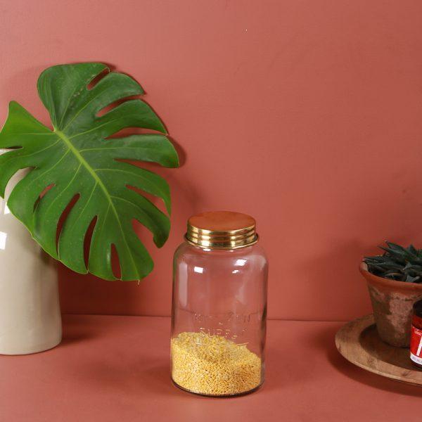 Glass storage jar : topp brass