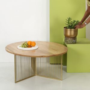 Top brass: Wooden Top Coffee table