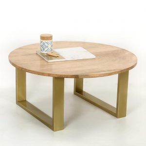 topbrass : Wooden top round coffee table