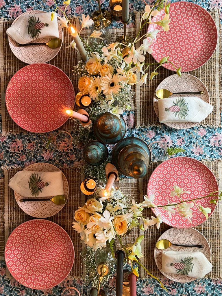 Tablescape with brass candle stands : Topbrass